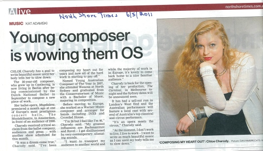 Chloé Charody in North Shore Times (2011)